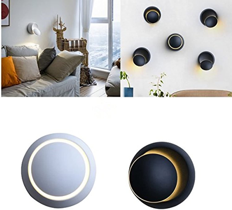 Wuchance Moderne 360 Grad-drehbare LED-Wandleuchte-Wandleuchte 5W   warmes weies dekoratives Innenlampenlampe AC220V (Farbe   Weiß schwarz)