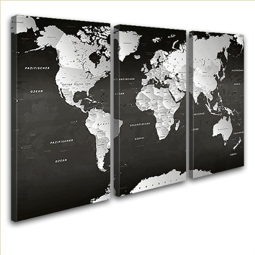 "LANA KK - Weltkarte Leinwandbild  ""Weltkarte SW"" - deutsch - Kunstdruck-Pinnwand auf Echtholz-Keilrahmen – Globus in schwarz, dreiteilig & fertig gerahmt in 120x80cm"