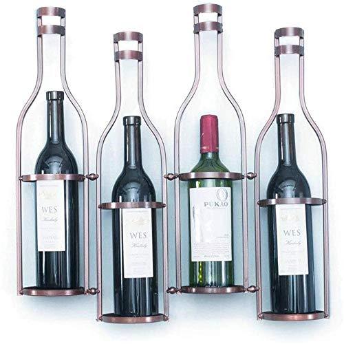 ZUOAO Estante del Vino Industrial montado en la Pared del hogar botellero de Metal Que Viven Titular cubilete habitación (Puede Contener 4 Botellas de Vino),Bronze