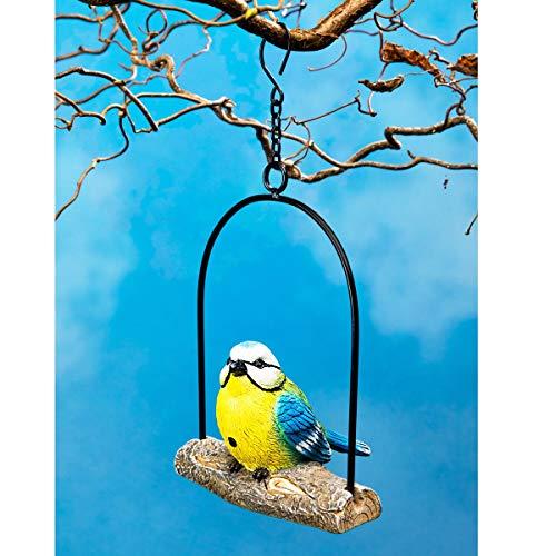 Bewegungsmelder Blaumeise, Bewegungssensor, Gartendeko, zwitschernder Vogel, Baumdekoration, wetterfest, Kunststein, 14,5 x 9 x 15cm