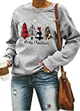 ASTANFY Merry Christmas Sweatshirt for Women Drop Shoulder Long Sleeve Christmas Tree Pullover Lightweight Shirt Grey