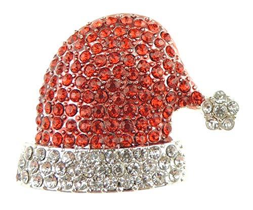 Glamour Girlz Sparkly Diamante Kristal Rood & Wit Kerstmis Feestelijke Kerstmuts Broche