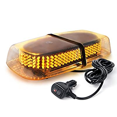 Xprite 240 LED Amber/Yellow Roof Top LED Emergency Strobe Lights Mini Bar for Cars Trucks Snow Plow Vehicles Warning Caution Lights w/Magnetic Base from Xprite