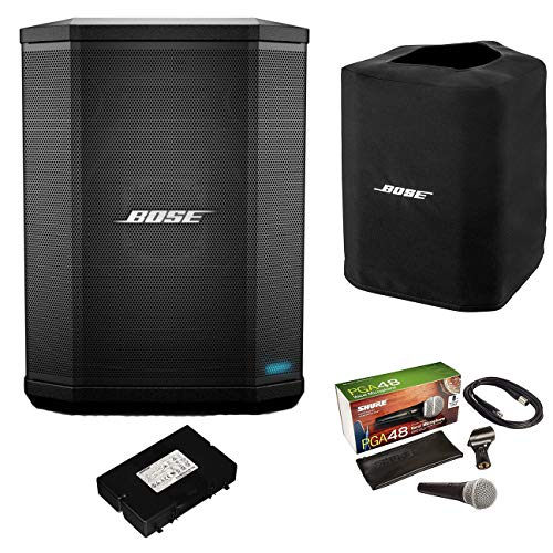 Bose S1 Pro Bluetooth Speaker System Bundle with Battery, Slip Cover, Shure PGA48 Microphone, 15ft XLR Audio Cable (7 Items)