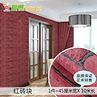 壁紙 リメイクシート 剥がせる かッティング シート 壁紙自己接着壁紙レンガパターン三次元防水寝室の壁のステッカー-赤レンガ_45cmx10m
