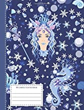 My composition notebook: cute and sweet journal for little girls - wide ruled line paper - mermaid and seahorse motif - 120 pages - 6,44 x 9,69 inch
