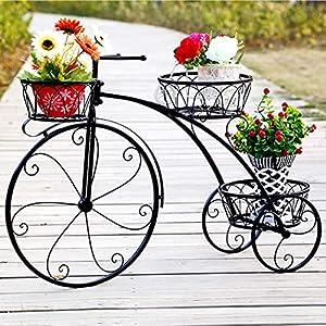 unho Estanterias para Macetas de Metal, Soporte Macetas Decorativo de Bicicletas Soporte Plantas con 3 Estantes Estanterias Decorativas Plantas Exterior Interior Jardín Balcón Patio 79,5 x 52cm