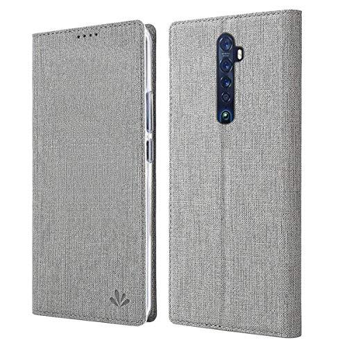 LUSHENG Oppo Reno2 Hülle, Premium PU Leder Magnetic Flip Schutzhülle + TPU Silikon Schutz Hülle mit Kartensteckplätzen & Ständerfunktion für Oppo Reno2 - Grau