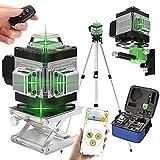 Niveau Laser 360° Vert 4D 16 Lignes, KKmoon® Laser Chantier 3° Auto-nivelant, avec Batterie et Support Rotatif, Support de Trépied de Barre d'extension d'alliage 1,5 m 3 Hauteurs Réglables et Sac