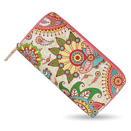 bluzelle Geldbeutel Geldbörse Portemonnaie aus Kunst-Leder mit Handyfach, Lange Premium Design Brieftasche, Umlaufender Reißverschluss Münzfach Kartenfächer Geldtasche, Designs:Paisley