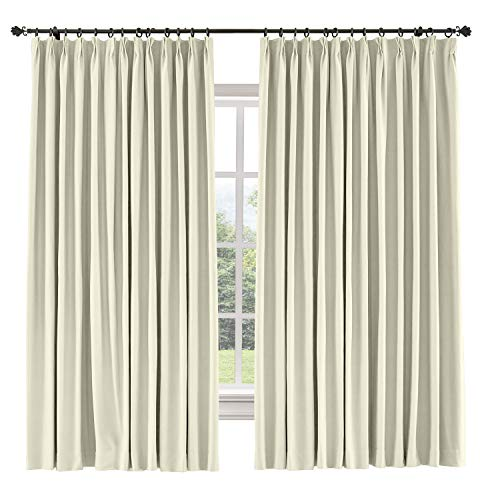 TWOPAGES 84 W x 84 L inch Pinch Pleat Drapes Blackout Curtain for Bedroom Cotton Blend Room Darkening Blackout Curtains, (1 Panel, Beige)