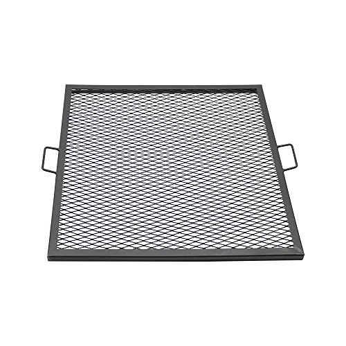 Sunnydaze X-Marks Fire Pit Cooking Grill Grate - Outdoor Square Metal BBQ Campfire Grill - Portable Outside Camping Gear Cookware - Bonfire Accessory - 30 Inch