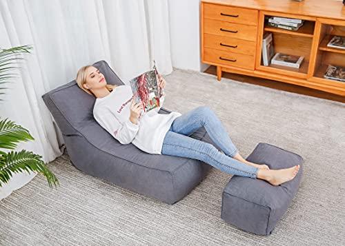Mit Fu?stützeRiesiger Sitzsack,Sitzsack xxl,weich wie in den Wolken zerkleinerte Schwammfüllung und Baumwoll-Sitzsackhülle 130x75cmWohnzimmer Schlafzimmer Garten Faul Liege Sitzsack-grau