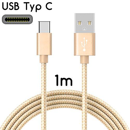 TheSmartGuard 1x USB-C kabel compatibel met ASUS Zenfone Zoom S/AR datakabel/oplaadkabel/USB C premium kabel in goud met nylon mantel - 1 meter