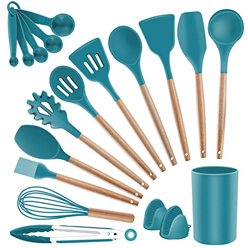 Silicone Kitchen Cooking Utensils Set - SZBOB Heat Resistant Kitchen Tools Wooden Handle Spoons Silicon Whisk Kitchen Utensil Set with Holder Spatulas Turner Tongs Kitchen Appliances for Cooking, Blue