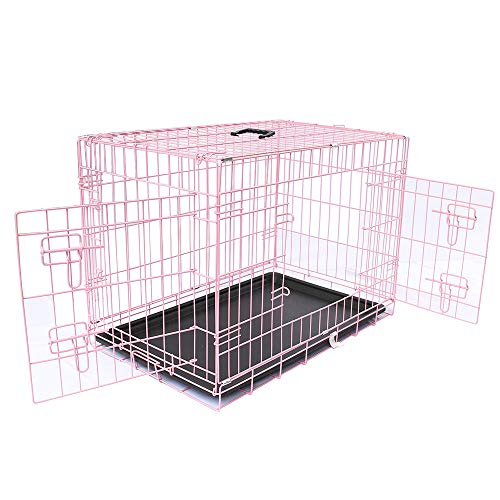 Greenbay Pets Crate Double Doors Foldable Metal Puppy Dog Cage with Tray...