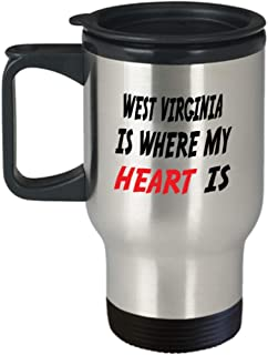Insulated Travel Mug Custom West Virginia Mug Going Away Gift State Mugs Moving Away State Gift Somebody My Heart Is,al0758