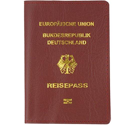 Reisepass Leder Hülle Etui Braun 20x14,2 cm - Reisepasshülle Passport Cover Lederetui für Kinderreisepass und Reisepass - Pass Tasche Holder nicht durchsichtig
