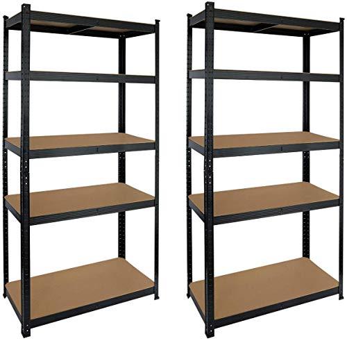 Set de 2 Estanterías Metálicas Galvanizadas color negro 875Kg 5 Baldas modulares 180 x 90 x 40cm