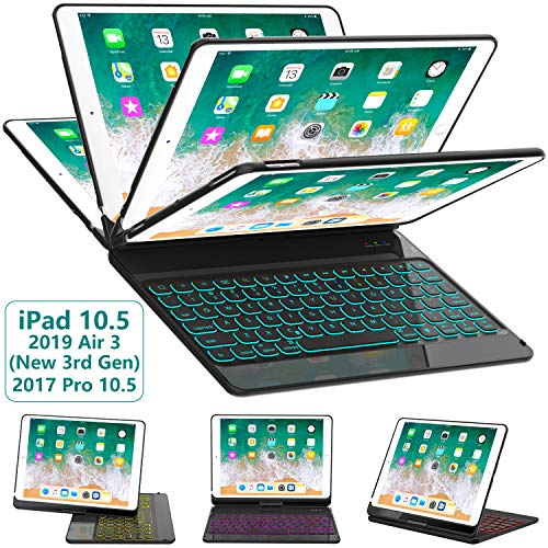 iPad Pro 10.5 Keyboard Case 2017/ iPad Air 3 Case with Keyboard 10.5 2019-360 Rotate 7 Color Backlit Wireless Keyboard with Smart Folio Hard Back Cover, Ultra Slim, Auto Sleep/Wake, Black