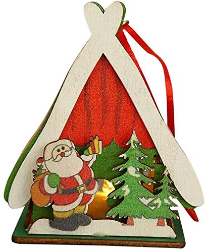 ccfgh Weihnachtsdekorationen LED Light Wood House Netter Weihnachtsbaum Hanging ts Feiertags-Dekoration Frohe...