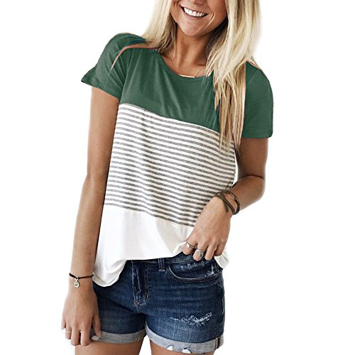 YunJey short sleeve round neck triple color block stripe T-shirt casual blouse, Green, Large