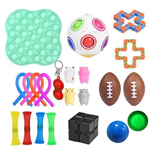Sensory Fidget Toys Set, 22 Pack Fidget Juego de Juguetes sensoriales Juguetes para aliviar el estrés para niños Adultos Alivia el estrés y la ansiedad Fidget Toy,Especiales para TDAH (A) (A)