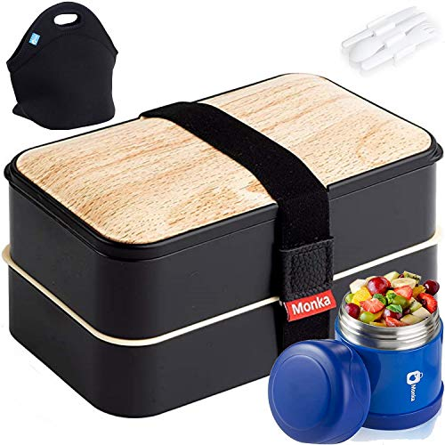 Monka Bento Lunch Box For Adults And Kids, With Thermos Vacuum And Lunch Bag, Lunch Containers Storage Stainless Steel Food Jar Thermal Neoprene Lunch Tote . Leakproof Insulated And Keep Warm & Cold