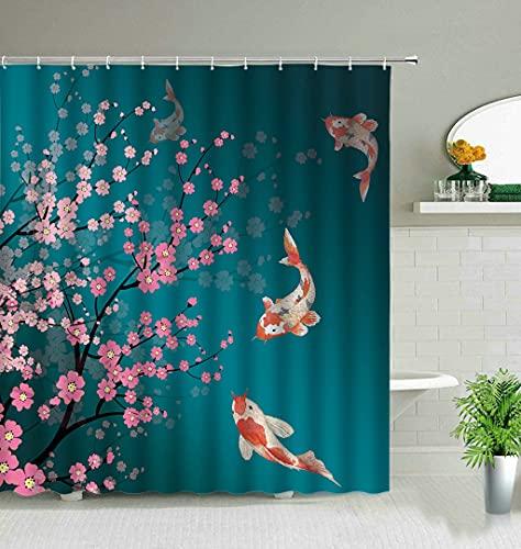 DuschvorhangChinesischer Stil Koi-Fisch-Blumen-Duschvorhänge für Badezimmer-Dekor-Display-Hintergr&-Wand-wasserdichter hängender Vorhang mit Haken