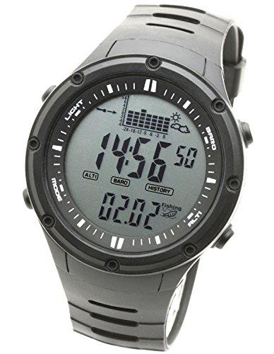 [ラドウェザー] フィッシングウォッチ デジタル腕時計 釣れる時間帯をお知らせする フィッシングアラーム 天気予測/高度計/気圧計/温度計(ブラック通常液晶)