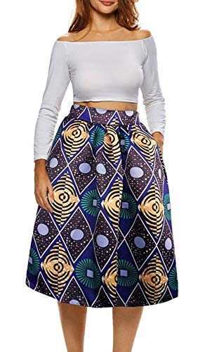 Afibi Womens African Print Skirt Boho Flare Pleated Midi Skirt with Pockets (Medium, Picture 5)