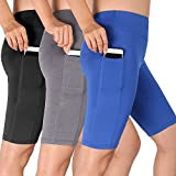 Cadmus Women's Stretcht Running Workout Shorts with Pocket,3 Pack,06,Black,Grey,Blue,X-Large