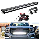 iJDMTOY Behind Grille Mount 30-Inch LED Light Bar Kit Compatible With 2014-18 GMC Sierra 1500 2500 3500 HD, Incl (1) 150W CREE LED Lightbar, Mesh Grill Mounting Brackets & On/Off Switch Wiring Kit