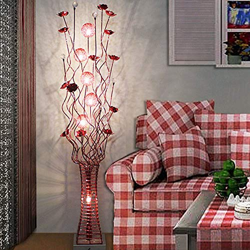 QHENS Standleuchte mit Fernbedienung, Blütenform Stehlampe LED Modern Deko Nachttischlampe mit Fußschalter Augenschutz Energie Sparen für Wohnzimmer Schlafzimmer Flur Restaurant,Rosa