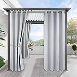 PONY DANCE Cortinas Blancas Grises con Ollaos para Exterior (1 Panel, An 132 x L 243 cm) Telas Termicas Aislantes Impermeable/Separadores Ambientes Salon Dormitorio Moderno Cocina Comedor