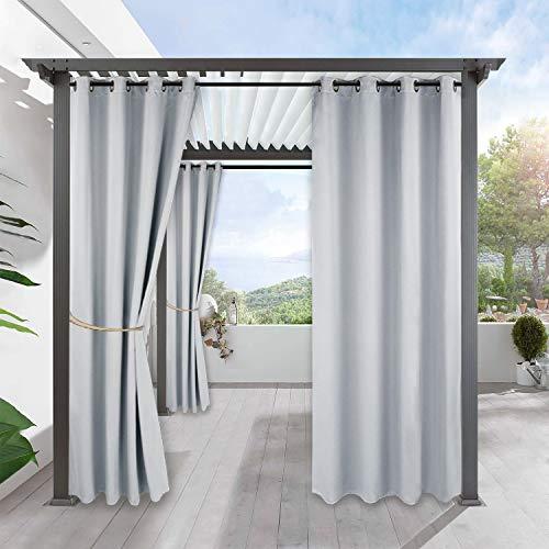 PONY DANCE Sichtschutz & Sonnenschutz Gardinen für Balkon - 1 Stück H 213 x B 132 cm Outdoor Vorhang für Gartenlaube & Terrasse Thermo Vorhänge Ösenschal, Grau-weiß