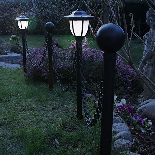 Grafner® LED Solar Standleuchten-Set | als Wegbegrenzung | mit Kette | Höhe: 70 cm | High-Power-LED | großer Akku | effizientes Solar-Panel | Solar Weg Leuchte