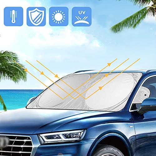 Amokee Auto Sonnenschutz für Frontscheiben, Sommer Sonnenschutz UV-Schutz Frontscheibenabdeckun Sonnenblende Auto Frontscheibe Windschutzscheibe, Faltbare und mit Saugnäpfe für Auto, SUV, 160 * 86 cm