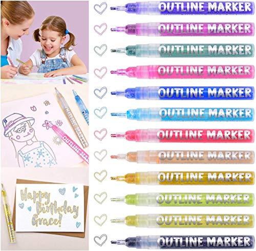 Morfone Outline Stift, 12 Farben Outline Metallic Markers für Kartenherstellung, Beschriftung, Zeichnen, Journaling - Bessere Verwendung auf Hartpapierkarton (3 mm Spitze)