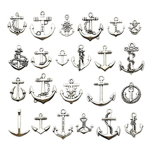Youdiyla 100g Silver Anchor Charms Collection, Mix Antique Silver Metal Pendant Supplies Findings for Jewelry Making (HM63)