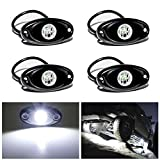 LED Rock Lights 4PODS Waterproof LED Neon Underglow Light for Car Truck ATV UTV SUV Offroad Boat Underbody Glow Trail Rig Lamp (White)