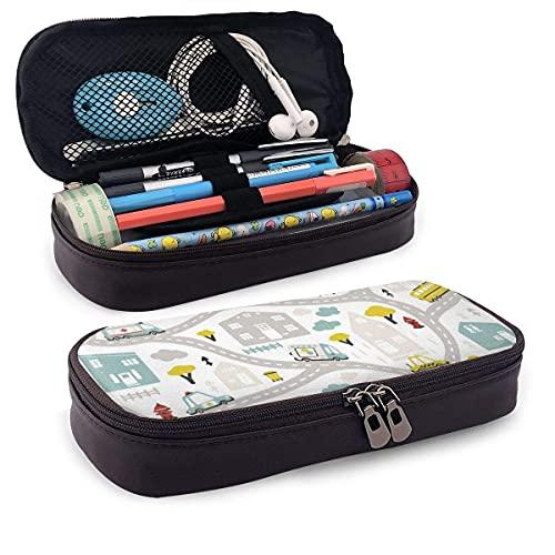 Pencils Pens Pouch Bunte Straßen Bus Car Truck House und Yellow Tree Pu Leder Pencil Case Bag,...