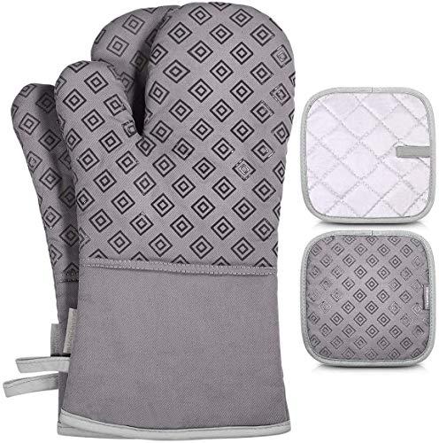Homemaxs Ofenhandschuhe und Topflappen 4er Set, 250℃ Hitzebeständige Topfhandschuhe Anti-Rutsch, Geeignet für Kochen, Backen, Grau