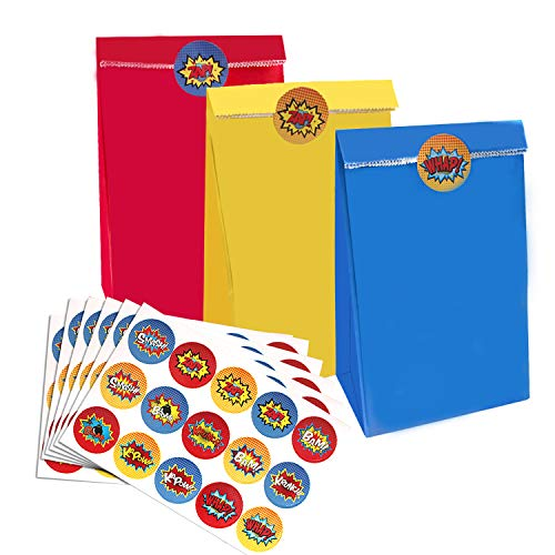 Juego de superhéroes: 30 bolsas de fiesta de 3 colores, rojo, amarillo y azul Con 60 pegatinas de superhéroes, estas bolsas de papel para fiestas de superhéroes y los temas de pegatinas harán que las decoraciones de superhéroes y fiestas de cumpleaño...