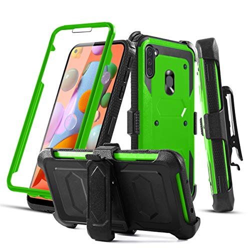 RioGree Phone Case for Samsung Galaxy A11 with Belt Clip Screen Protector Kickstand Heavy Duty Durable for Women Men Girls Boys (Green)
