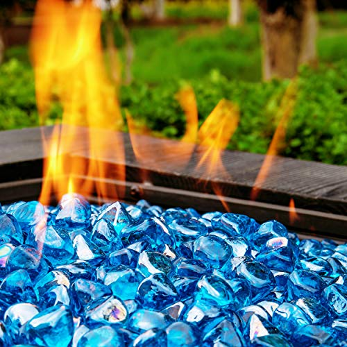 Chilli Cosmos Fire Glass Diamond 1 Inch Fire Pit Glass Rocks for Propane or Gas Fire Pit(20 Pounds Margarita Azura Blue) Gift Package
