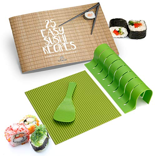 Sushi Making Kit – Silicone Sushi Roller With Rice Paddle, Roll Cutter, and Recipe Book, Full DIY Sushi Kit For The Perfect Sushi Roll