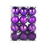 Shan-S 24pcs 30mm Christmas Ball Bauble Shatterproof Seasonal Decor Hanging Home Party Ornament with Reusable Hand-held Gift Package for Holiday Xmas Tree Decorations for Christmas Tree