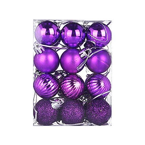 HOUMENGO 24 Weihnachtskugeln Baumschmuck, Christbaumkugeln aus Kunststof, Christbaumschmuck Weihnachten Anhänger Deko modisch Glänzend Bruchsiche Weihnachtskugeln (24 Stück, Lila)