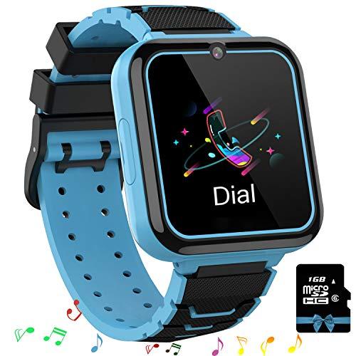 Smooce Kinder Smartwatch Telefon,Spiele Musik Smart Watch für Kinder,Kids Smart Watch mit SOS Anruf Kamera Spiele Wecker Musik Player für Jungen Mädchen (1GB Micro SD Enthalten (Blue)
